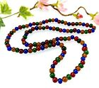 Vintage Harlequin Glass Bead Necklace Red Blue Green Yellow