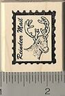 Reindeer Mail Faux Postage Rubber Stamp B6415 WM