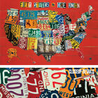 36Wx24H FIFTY STATES ONE NATION by AARON FOSTER CAR LICENSE PLATES CANVAS