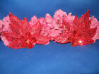 RED FLOWER LEAF PAIR SEQUIN BEADED APPLIQUE 0193 R