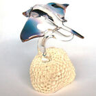 Manta Ray Figurine of Hand Blown Glass 24K Gold Coral