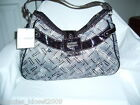 SAG HARBOR LG. PURSE -BLK/GREY-CROC EMBOSSED TRIM (NWT)