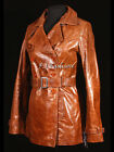 CHENELLE Brown Ladies Real Leather Trench Coat Jacket