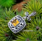 OPEN WORK SCROLL WORK GOLDEN CITRINE 925 SILVER FACETED SQUARE PENDANT 30MM