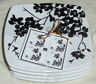 222 Fifth Mia Blossom ~  4 Appetizer Plates Black On White ~ NEW