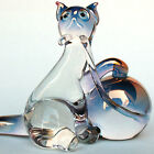 Cat Figurine Hand Blown Glass Crystal Collectible Statue Ball of Yarn Cute