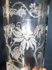 Vintage 2 set 16 oz flower DAISY TUMBLER glasses sunflower retro applied-etched