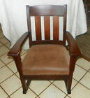 Quartersawn Oak Mission Rocker Rocking Chair brown suede cloth seat  (R81)