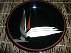 Fitz and Floyd OISEAU De PARADIS Salad Plate- Black w/ bird of paradise  7 .5