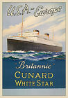 MAGNET Vintage Travel Poster CUNARD Liner Britannic USA Europe Free Shipping