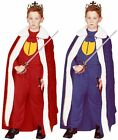 RENAISSANCE KING QUEEN CHILD KIDS COSTUME ROBE BOY MEDIEVAL PRINCE CAPE BLUE RED
