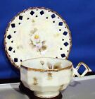 CUP/SAUCER Pearlized Cutwork Floral CHERRY CHINA Japan