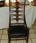 Quartersawn Oak Carved Black Leather Rocker Rocking Chair  (R27)