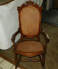 Walnut Carved Caned Rocker Rocking Chair  (R78)