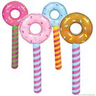 4 Assorted Donut Stick Inflatable Pool Party Blow Up Float Decoration Favors