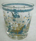 Beverage Glass Tumbler Aqua Gold Woman Horse Polo