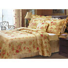 TEXTURED 5 pc QUILT SET ANTIQUE VINTAGE YELLOW RED ROSE STYLE- FULL , QUEEN SIZE