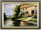 Framed, Quality Hand Painted Oil Painting, Pond Side Cottage and Garden 24x36in