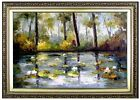 Framed, Quality Hand Painted Oil Painting, Scenery with Water Lily Pond 24x36in
