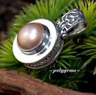 OPEN WORK SCROLL WORK GOLD MABE PEARL 925 SILVER ROUND PENDANT 35MM