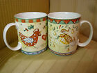 Set of 2- 222 Fifth 12 DAYS of CHRISTMAS Mugs- Partridge & Hens