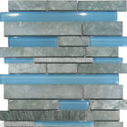 10SF Marble Stone  Blue Glass Random Linear Mosaic Tile Backsplash Kitchen Spa