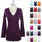 Womens V Neck Long Sleeve Plain Solid Cotton Tee Shirt Top Basic Casual S M L