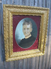 Antique Wood Gesso Frame with Colored Charcoal of Older Woman