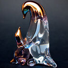 Penguin Mother Baby Figurine Blown Glass Gold Sculpture