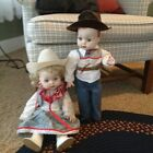 [ Vintage Collectible Porcelain Cowboy And Cowgirl Dolls- Handpainted!