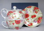 RED ROSE and PURPLE FLOWERS SORELLE HANDMADE PORCELAIN TEA FOR ONE+SAUCER-NEW