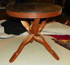 Highly Carved Accent Side Table with Glass Top  (T166)