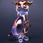 Owl Figurine Hand Blown Glass Gold Crystal Sculpture