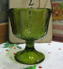 Vintage Colony Glass Harvest Green Pressed Grape Design Planter Compote Indiana