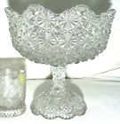 Pedestal compote Daisy  Button eapg pattern glass scalloped rim 9d c1890