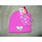 GLAMOUR BARBIE KNIT BEANIE HAT & GLOVES SET~NEW~COLD WEATHER SNOW GEAR~HEARTS