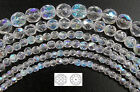Czech Fire Polished Round Faceted Glass Beads Crystal AB clear Aurora Borealis