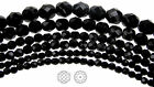 Czech Fire Polished Round Faceted Glass Beads in Jet black 16 strand