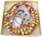 Catholic Wood Rosary Necklace Wooden Prayer Beads St Benedict Cross