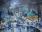 The WINTER CAROUSEL PARTY Karl Doerflinger SIGNED Print ROGER WILLIAMS PARK RI
