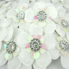 60Pcs White Padded Felt Acryl Rhinestone Flower Appliques For Scrapbook 36mm