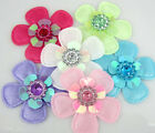 60Pcs Mixed Padded Felt Acryl Rhinestone Flower Appliques For Scrapbook 36mm