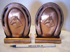 Vintage Gregorian Copper Horseshoe Horse  Bookends