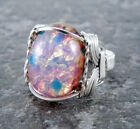 Sterling Silver Wire Wrapped Pink Fire Opal Glass Cabochon Ring