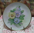 Vintage Hand Painted Panzies Gold Trimmed Porcelain Collector Plate Floral