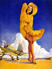 Pin-Up Girl with Plane 8x10 Fabric Block - Great tor Quilting, Pillows