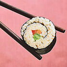 Set of 2 Japanese Sushi 4x4 Fabric Blocks -Great 4 Quilting, Pillows