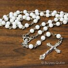 Beautiful White Round Glass Beads Rosary 20