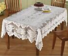Beautiful White Lace Table Cloth w/ Elegant Rose Design - Rectangular 54