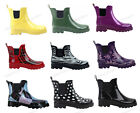 Womens Rain Boots Rubber Short Ankle Wellies wellington Pull On GardenSize 5 11